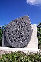 Aztec Satue Calendar stone near Cancun Mexico.
