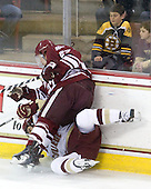 Matt Lombardi (BC - 24), Justin Braun (UMass - 27) - The Boston College Eagles defeated the University of Massachusetts-Amherst Minutemen 5-2 on Saturday, March 13, 2010, at Conte Forum in Chestnut Hill, Massachusetts, to sweep their Hockey East Quarterfinals matchup.