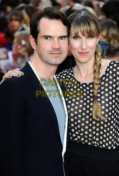 Jimmy Carr & Karoline Copping.'The Inbetweeners Movie' premiere held at the Vue West End - Arrivals London, England..August 16th, 2011.half length suit jacket top polka sot couple braid plait grey gray  .CAP/CJ.©Chris Joseph/Capital Pictures.