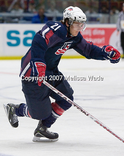 Bill Sweatt (Elburn, Illinois - Colorado College)is making his first appearance on the US National Junior Team after helping the US Inline team win the 2006 gold medal. Team Canada defeated Team USA 2-1 by winning the seventh round of the shootout on Wednesday, January 3, 2007 at Ejendals Arena in Leksand, Sweden.  The result gave Team Canada the opportunity to play for the gold medal and Team USA the opportunity to play for the bronze medal.