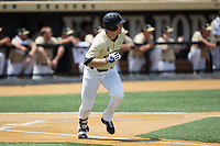 Gavin Sheets (24) of the Wake Forest Demon Deacons hustles down the first base line against the Pitt Panthers at David F. Couch Ballpark on May 20, 2017 in Winston-Salem, North Carolina. The Demon Deacons defeated the Panthers 14-4.  (Brian Westerholt/Four Seam Images)