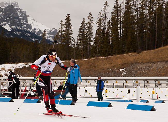 Friedrich Pinter of Austria explodes out of the start gate at The International Biathlon Union Cup #6 Men's 10 KM Sprint held at the Canmore Nordic Center in Canmore Alberta, Canada, on Feb 12, 2012.  Friedrich went on to finish 2nd in the race behind Canadian Nathan Smith.