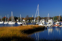 harbor, marina, Wickford, Rhode Island, RI, Marina on Narragansett Bay in Wickford in the fall.