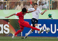 Dominick Sarle battles for the ball. US Under-17 Men's National Team defeated United Arab Emirates 1-0 at Gateway International  Stadium in Ijebu-Ode, Nigeria on November 1, 2009.