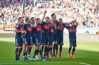 Juan BERNAT, FCB 14 RAFINHA (FCB 13) Thiago ALCANTARA, FCB 6  Javi MARTINEZ, FCB 8 Niklas SUELE, FCB 4 James RODRIGUEZ, FCB 11 Mats HUMMELS, FCB 5  Sandro WAGNER, FCB 2 Sebastian RUDY, FCB 19  Tom STARKE, FCB 22 Robert LEWANDOWSKI, FCB 9 Thomas MUELLER, MUELLER, FCB 25 Arjen ROBBEN, FCB 10 David ALABA, FCB 27 Franck RIBERY, FCB 7 celebration, <br /> FC AUGSBURG -  FC BAYERN MUENCHEN 1-4<br /> Football 1. Bundesliga , Augsburg,07.04.2018, 29. match day,  2017/2018, 1.Liga, 1.Bundesliga, <br />  *** Local Caption *** © pixathlon<br /> Contact: +49-40-22 63 02 60 , info@pixathlon.de