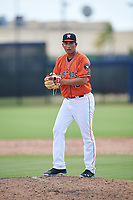 GCL Astros relief pitcher Jose Bravo (18) gets ready to deliver a pitch during a game against the GCL Marlins on August 5, 2018 at FITTEAM Ballpark of the Palm Beaches in West Palm Beach, Florida.  GCL Astros defeated GCL Marlins 2-1.  (Mike Janes/Four Seam Images)
