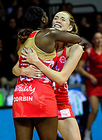 England's Kadeen Corbin and Helen Housby celebrate the 49-45 victory in the Quad Series netball match between the New Zealand Silver Ferns and England Roses at Trusts Stadium, Auckland, New Zealand on Wednesday, 30 August 2017. Photo: Dave Lintott / lintottphoto.co.nz