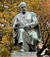 Statue of Alois Jirasek, 1851-1930, Czech writer, by Karl Pokorny, Czech sculptor, in Jirasek Square outside the house Jirasek lived in 1903-30, Prague, Czech Republic. Jirasek was a teacher and author of historical novels and plays imbued with faith in his nation and in progress toward freedom and justice. The historic centre of Prague was declared a UNESCO World Heritage Site in 1992. Picture by Manuel Cohen