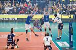 24.02.2019, SAP Arena, Mannheim<br /> Volleyball, DVV-Pokal Finale, VfB Friedrichshafen vs. SVG LŸneburg / Lueneburg<br /> <br /> Block / Doppelblock Jakob GŸnthšr / Guenthoer (#12 Friedrichshafen), David Sossenheimer (#5 Friedrichshafen) - Angriff Ryan Sclater (#15 Lueneburg)<br /> <br />   Foto © nordphoto / Kurth