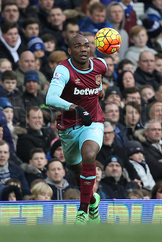 05.03.2016. Goodison Park, Liverpool, England. Barclays Premier League. Everton versus West Ham. Angelo Ogbonna Obinze of West Ham United focuses on controlling the ball.