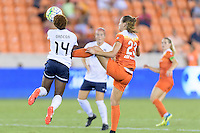 Houston, TX - Thursday Aug. 18, 2016: Francisca Ordega, Cami Privett during a regular season National Women's Soccer League (NWSL) match between the Houston Dash and the Washington Spirit at BBVA Compass Stadium.