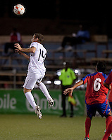 Sam Garza heads the ball. Costa Rica defeated the US Under 20 Men's National team 3-0 during the 2009 CONCACAF U-20 Championship game at Marvin Lee Stadium Trinidad & Tobago in Macoya, Trinidad on March 17th, 2009.