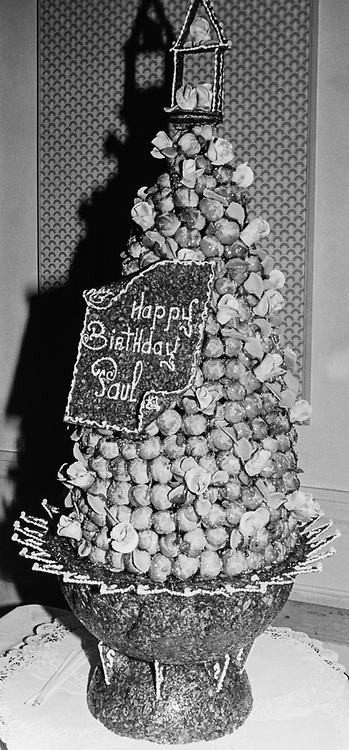 Croquembouche cake for Paul G. Kirk, D-Mass., for his birthday. (Photo by CQ Roll Call via Getty Images)