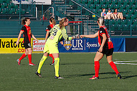 Rochester, NY - Friday May 27, 2016: Western New York Flash defender Abigail Dahlkemper (13) fist bumps goalkeeper Britt Eckerstrom (28). The Western New York Flash defeated the Boston Breakers 4-0 during a regular season National Women's Soccer League (NWSL) match at Rochester Rhinos Stadium.