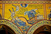 Medieval Byzantine mosaics of Christian scene with Christ and the angels, Monreale Cathedral, Sicily