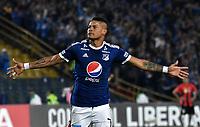 BOGOTA - COLOMBIA – 17 - 04 - 2018: Ayron del Valle jugador de Millonarios (COL), celebra el segundo gol anotado a Deportivo Lara (VEN), durante partido entre Millonarios (COL) y Deportivo Lara (VEN), de la fase de grupos, grupo G, fecha 3 de la Copa Conmebol Libertadores 2018, en el estadio Nemesio Camacho El Campin, de la ciudad de Bogota. / Ayron del Valle player of Millonarios (COL), celebrates the second scored goal to Deportivo Lara (VEN), during a match between Millonarios (COL) and Deportivo Lara (VEN), of the group stage, group G, 3rd date for the Conmebol Copa Libertadores 2018 in the Nemesio Camacho El Campin stadium in Bogota city. VizzorImage / Luis Ramirez / Staff.