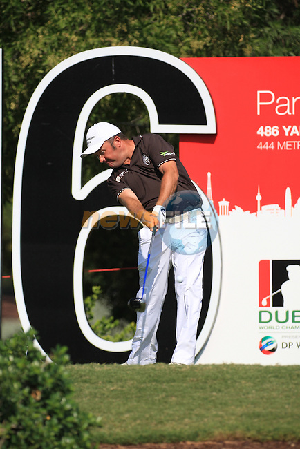 Damien McGrane teeing off on the 16th during the third round of the Dubai World Championship on the Earth Course at the Jumeirah Golf Estate, Dubai..Picture Fran Caffrey/www.golffile.ie.