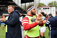 Lewis Thiede of Bristol Bears celebrates after the match. Gallagher Premiership match, between Leicester Tigers and Bristol Bears on April 27, 2019 at Welford Road in Leicester, England. Photo by: Patrick Khachfe / JMP