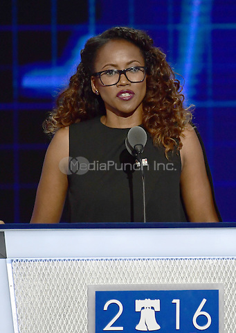 Actress Erika Alexander makes remarks during the second session of the 2016 Democratic National Convention at the Wells Fargo Center in Philadelphia, Pennsylvania on Tuesday, July 26, 2016.<br /> Credit: Ron Sachs / CNP/MediaPunch<br /> (RESTRICTION: NO New York or New Jersey Newspapers or newspapers within a 75 mile radius of New York City)