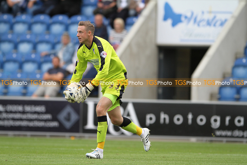 Elliott Parish of Colchester United takes the ball during Colchester United vs Scunthorpe United, Sky Bet League 1 Football at the Weston Homes Community Stadium, Colchester, England on 29/08/2015