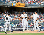 (L-R) Joe Girardi, Masahiro Tanaka (Yankees), JULY 23, 2015 - MLB : New York Yankees starting pitcher Masahiro Tanaka (C) hands the game ball to Manager Joe Girardi (L) after being relieved in the eighth inning during a baseball game against the Baltimore Orioles at Yankee Stadium in New York, United States. (Photo by AFLO)