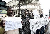 Manifestazione dei rifugiati del Darfur in Italia al Colosseo, Roma, 4 marzo 2009, per ricordare le vittime del conflitto in Darfur..Refugees of Darfur demonstrate in front of the Coloseum, Rome, 4 march 2009, in memory of the victims of Darfur conflict..UPDATE IMAGES PRESS/Riccardo De Luca
