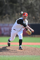Rutgers University Scarlet Knights pitcher Slater McCue (27) during game game 1 of a double header against the University of Houston Cougers at Bainton Field on April 5, 2014 in Piscataway, New Jersey. Rutgers defeated Houston 7-3.      <br />  (Tomasso DeRosa/ Four Seam Images)