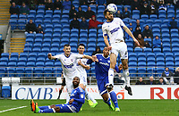 Cole Skuse of Ipswich Town heads the ball clear of the Ipswich box during the Sky Bet Championship match between Cardiff City and Ipswich Town at The Cardiff City Stadium, Cardiff, Wales, UK. Saturday 18 March 2017