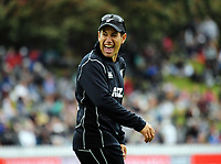 Ross Taylor enjoys himself during the One Day International cricket match between the NZ Black Caps and Pakistan at the Basin Reserve in Wellington, New Zealand on Saturday, 6 January 2018. Photo: Dave Lintott / lintottphoto.co.nz