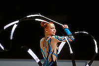Natalya Godunko of Ukraine makes waves with ribbon during event finals at 2006 Thiais Grand Prix in Paris, France on March 26, 2006.  (Photo by Tom Theobald)