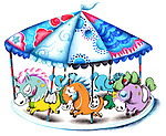 Illustration of colorful carousel over white background