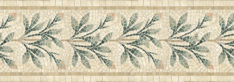 "14 1/4"" Charleston border, a hand-cut mosaic shown in tumbled Travertine White, New Kendra, Verde Luna, Verde Alpi, and Spring Green by New Ravenna."