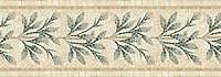 "14 1/4"" Charleston border, a hand-cut mosaic shown in tumbled Travertine White, New Kendra, Verde Luna, Verde Alpi, and Spring Green by New Ravenna."
