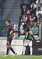 Calcio, Serie A: Juventus - Genoa, Turin, Allianz Stadium, October 20, 2018.<br /> Genoa's Daniel Bessa celebrates after scoring during the Italian Serie A football match between Juventus and Genoa at Torino's Allianz stadium, October 20, 2018.<br /> UPDATE IMAGES PRESS/Isabella Bonotto