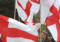 Members of the National Front hold their St Georges Day demonstration in Eltham South London. 22 demonstrators were protected by around 100 Police.
