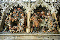 Gothic sculptures depicting the arrival in Amiens (1206) of a relic of Saint (st) John The Baptist from Constantinople brought by Richard de Gerberoy, and the beheading of John. Cathedral of Notre-Dame, Amiens, France.