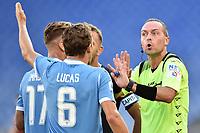 Referee Luca Pairetto argues with Lucas Leiva and Ciro Immobile of SS Lazio <br /> Roma 29-9-2019 Stadio Olimpico <br /> Football Serie A 2019/2020 <br /> SS Lazio - Genoa CFC <br /> Foto Andrea Staccioli / Insidefoto