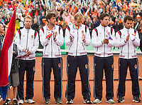 14-09-12, Netherlands, Amsterdam, Tennis, Daviscup Netherlands-Swiss,  Dutch Team, l.t.r.: captain Jan Siemerink, Robin Haase, Thiemo de Baker, Igor Sijsling and Jean-Julien Rojer.
