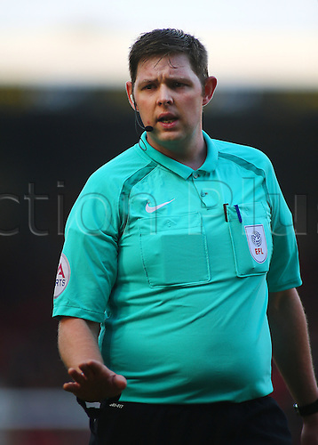 February 18th 2017,  Matchroom Stadium, Leyton, London, England, Skybet Division 2 football, Leyton Orient versus Notts County;  Referee Lee Collins asks players for calm, after Notts County concede a free kick