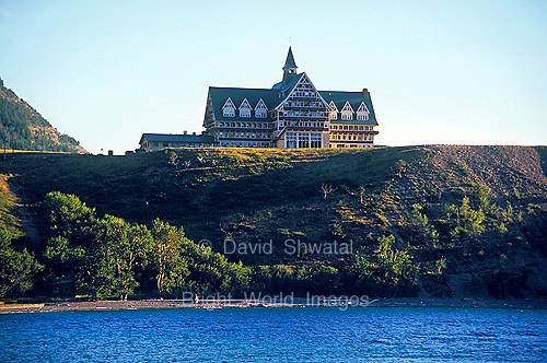 Prince of Wales Hotel overlooks Waterton Lakes National Park Alberta Canada