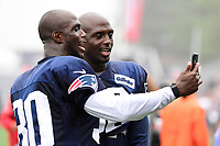 August 13, 2018: New England Patriots defensive back Jason McCourty (30) and twin brother defensive back Devin McCourty (32) make a video after practice at the New England Patriots training camp held on the practice fields at Gillette Stadium, in Foxborough, Massachusetts. Eric Canha/CSM