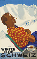 BNPS.co.uk (01202 558833)<br /> Pic: Lyon&Turnbull/BNPS<br /> <br /> Pictured:  A vintage Swiss ski poster sold for £4500<br /> <br /> A stunning set of vintage ski posters depicting the halcyon days of European winter holidays have sold for over £116,000.<br /> <br /> They featured early lithograph prints of advertising posters for glamorous resorts including Champery and Gstaad.<br /> <br /> The earliest posters in the sale dated from the turn of the 20th century, with the most recent examples from the 1960s.<br /> <br /> As transport links improved in the 1920s and '30s, skiing holidays grew in popularity.