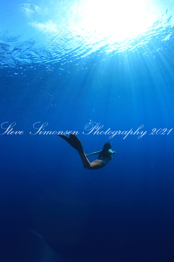 Mermaid swimming in the deep blue ocean<br />