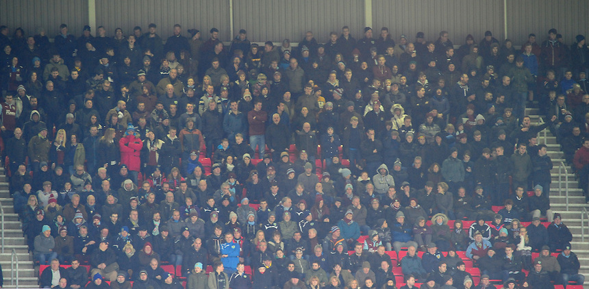 Burnley fans during the second half<br /> <br /> Photographer Chris Vaughan/CameraSport<br /> <br /> Football - Barclays Premiership - Sunderland v Burnley - Saturday 31st January 2015 - Stadium of Light - Sunderland<br /> <br /> &copy; CameraSport - 43 Linden Ave. Countesthorpe. Leicester. England. LE8 5PG - Tel: +44 (0) 116 277 4147 - admin@camerasport.com - www.camerasport.com