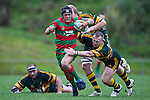 Nigel Watson makes a covering tackle on Heinie Fourie. Counties Manukau McNamara Cup Premier Club Rugby final between Pukekohe andWaiuku, held at Bayer Growers Stadium, on Saturday July 17th. Waiuku won 25 - 20.
