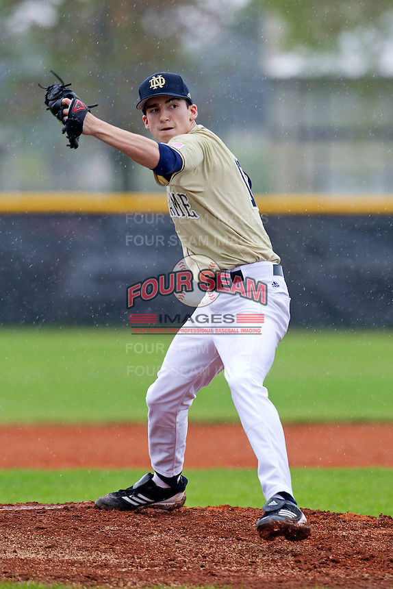 Notre Dame Fighting Irish pitcher Sean Fitzgerald #18 delivers a pitch during a game against the Illinois Fighting Illini at the Big Ten/Big East Challenge at Walter Fuller Complex on February 17, 2012 in St. Petersburg, Florida.  (Mike Janes/Four Seam Images)