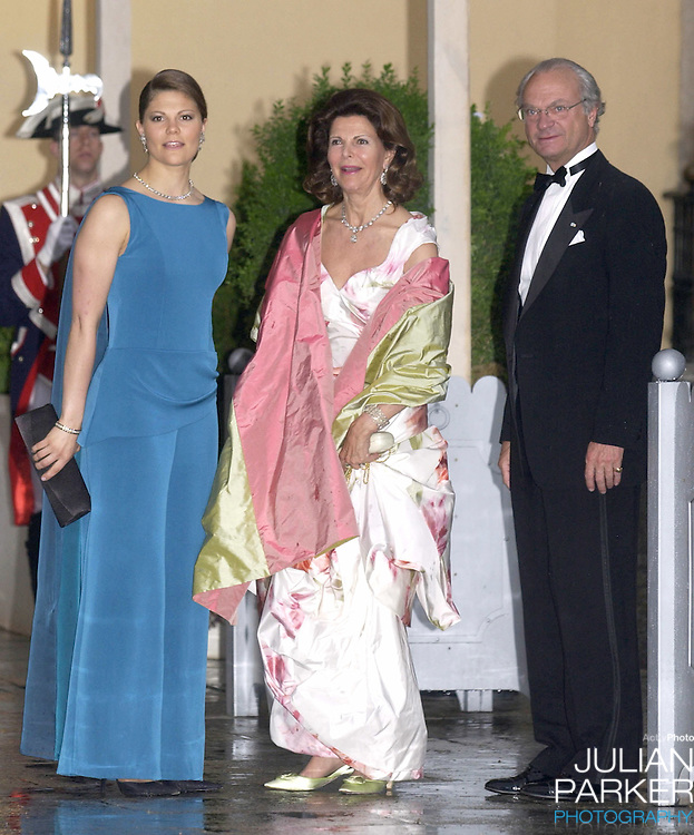 King Carl Gustav, Queen Silvia & Crown Princess Victoria of Sweden attend a Gala Dinner at the El Pardo Royal Palace in Madrid..Picture: UK Press