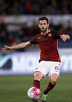 Calcio, Serie A: Roma vs Bologna. Roma, stadio Olimpico, 11 aprile 2016.<br /> Roma&rsquo;s Miralem Pjanic in action during the Italian Serie A football match between Roma and Bologna at Rome's Olympic stadium, 11 April 2016.<br /> UPDATE IMAGES PRESS/Isabella Bonotto