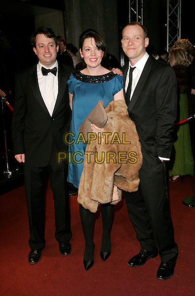 DAVID MITCHELL, OLIVIA COLMEN & ROBERT WEBB.The British Academy Television Awards 2008 after party held at the Grosvenor House Hotel,London, England..April 20th, 2008 .BAFTA BAFTA's full length black dress  tuxedo suit blue carrying fur coat brown .CAP/AH.©Adam Houghton/Capital Pictures.