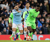 FC Schalke 04&rsquo;s Breel Embolo under pressure from Manchester City's Ilkay Gundogan<br /> <br /> Photographer Rich Linley/CameraSport<br /> <br /> UEFA Champions League Round of 16 Second Leg - Manchester City v FC Schalke 04 - Tuesday 12th March 2019 - The Etihad - Manchester<br />  <br /> World Copyright &copy; 2018 CameraSport. All rights reserved. 43 Linden Ave. Countesthorpe. Leicester. England. LE8 5PG - Tel: +44 (0) 116 277 4147 - admin@camerasport.com - www.camerasport.com